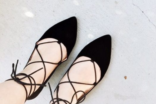 Lace-Up Pointed Flats